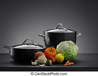 pots - close up view of nice cookware set with some ...