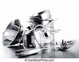 pots, contre, casseroles, tas, blanc