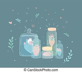 Pots, ensemble, cœurs