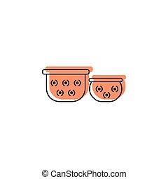 Pots icon, doodle style - Pots doodle icon. Thailand Giant...