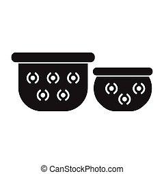 Pots icon, silhouette style - Pots silhouette icon. Thailand...
