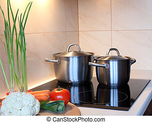 Pots in kitchen