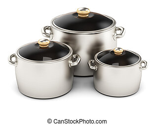 pots isolated on white background. 3d render