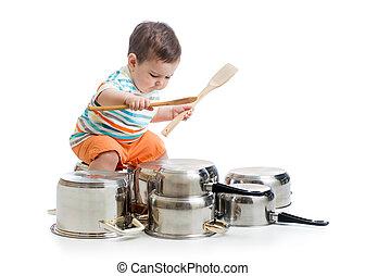 pots, jouer, battre tambour, garçon, gosse