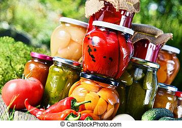 pots, légumes, fruits, jardin, conservé vinaigre