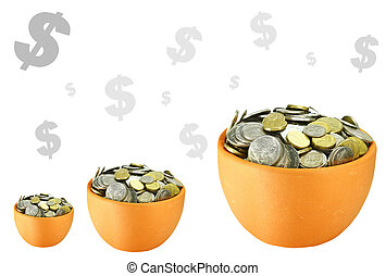 pots of coins with dollar signs