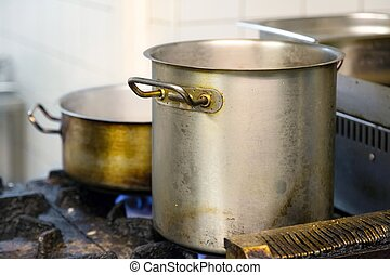 Pots on the gas cooker