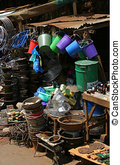 Pots & pans for sale at a market in madagascar