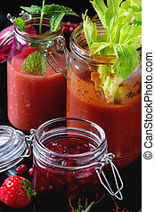 pots, rouges, smoothies