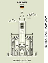 potsdam, église, germany., paul, repère, peter, icône, rue.
