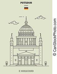 potsdam, église, germany., repère, nicolas, icône, rue.
