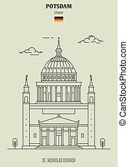 potsdam, chiesa, germany., punto di riferimento, nicholas, icona, st.