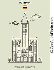 potsdam, iglesia, germany., paul, señal, peter, icono, s.