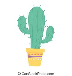 potted cactus decoration isolated design icon
