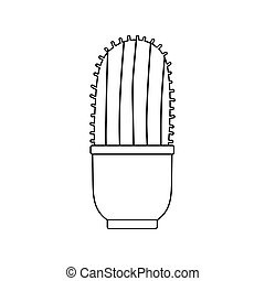 potted cactus decoration isolated icon line style
