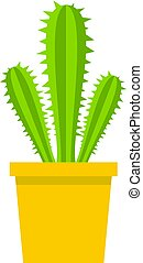 Potted cactus icon isolated