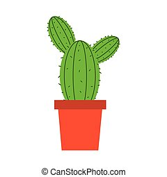 potted cactus plant decoration isolated flat style icon