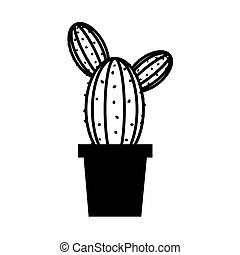 potted cactus plant decoration isolated linear style icon