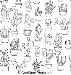 Potted cactus succulent plants seamless pattern - Potted...