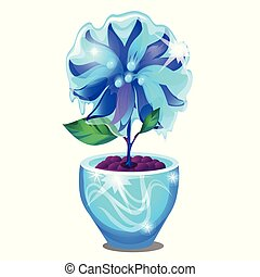 Potted flower covered with icy glaze isolated on white background. Sample of poster, party holiday invitation, festive card. Vector cartoon close-up illustration.