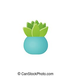 Potted flower plant in pot. Vector illustration.