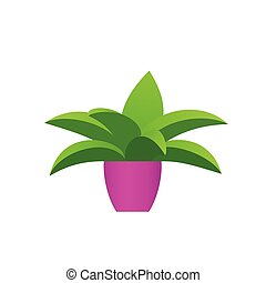 Potted flower plant in yellow pot. Vector illustration.