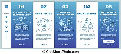 Potted flowers caring onboarding vector template. Spraying ...