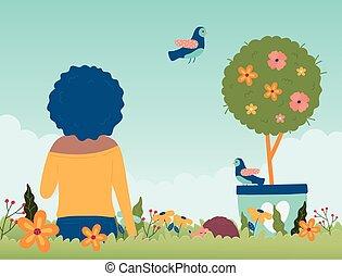 potted, hallo, zittende , bloemen, lente, boompje, vrouw, vogel