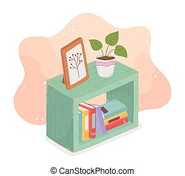 potted, hogar, dulce, marco, libros, planta, imagen