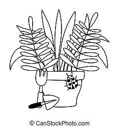 potted, ligne, jardinage, outils, icône, style, râteau, plante, pelle