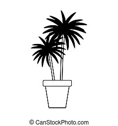 potted palm plant decoration isolated design white background line style