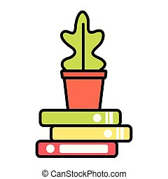 potted plant books stacked vector illustration design