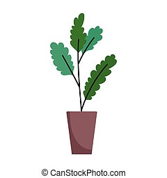 potted plant decoration interior isolated icon white background