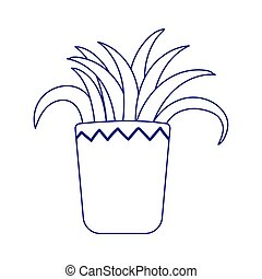 potted plant decoration isolated icon white background line style