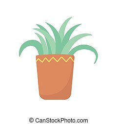 potted plant decoration isolated icon white background
