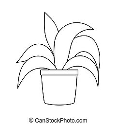 potted plant foliage decoration isolated icon line style