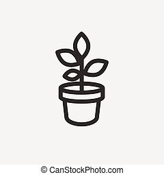 potted plant icon of brown outline for illustration