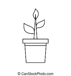 Potted plant icon, outline style