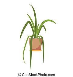 Potted plant isolated. Vector flat plant pot illustration....