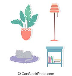 potted plant lamp table books and cat icons