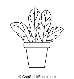 potted plant leaves decoration isolated design white background line style