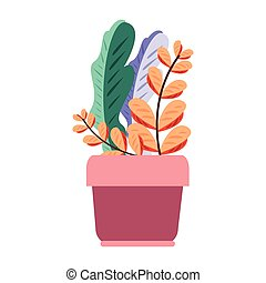 potted plant leaves on white background vector illustration