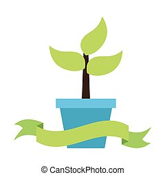 potted plant nature on white background vector illustration