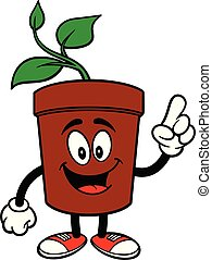Potted Plant Pointing - A cartoon illustration of a Potted ...