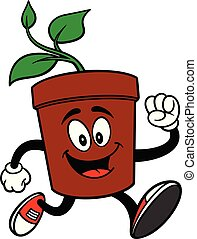 Potted Plant Running - A cartoon illustration of a Potted ...