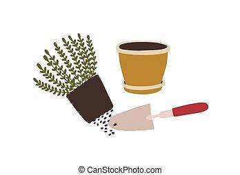 Potted plant transplantation. Trowel, pot and seedling...