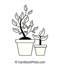 potted plant tree interior decoration vector illustration