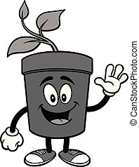 Potted Plant Waving Illustration - A cartoon illustration of...