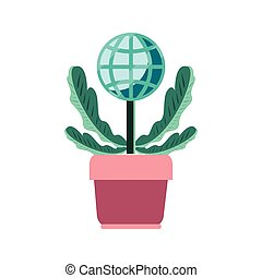 potted plant world trade on white background vector ...