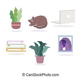 potted plants cat books picture and laptop icons set